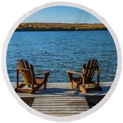 Lakeside Seating For Two Round Beach Towel