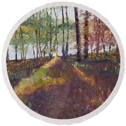 Lakeside Shadows Round Beach Towel