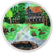 Lakewoods Lodge Round Beach Towel