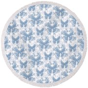 Lalabutterfly Blue Wedgewood Reverse Round Beach Towel