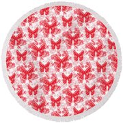 Lalabutterfly Red And White Round Beach Towel