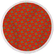 Lalabutterfly Red Reduced Scale Round Beach Towel