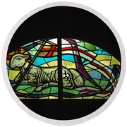 Lamb Stained Glass Window Round Beach Towel