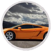 Lamborghini Exotic Car Round Beach Towel