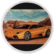 Lamborghini Reventon 2007 Painting Round Beach Towel