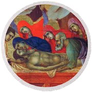 Lamentation Of Christ Fragment 1311 Round Beach Towel