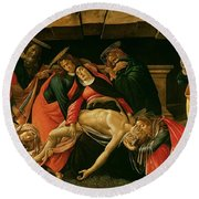 Lamentation Of Christ Round Beach Towel