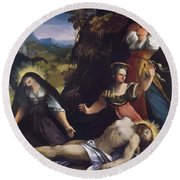 Lamentation Over The Body Of Christ 1517 Round Beach Towel