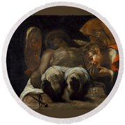 Lamentation Over The Dead Christ Round Beach Towel