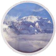 Lamjung Himal Peak Above The Clouds Round Beach Towel