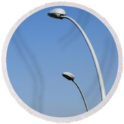 Lamp Posts On Blue Sky Round Beach Towel