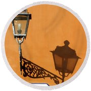 Lamp, Shadow And Burnt Umber Wall, Orvieto, Italy Round Beach Towel