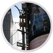 Lampost And Lightning Round Beach Towel