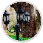 Lamppost And Oak Round Beach Towel