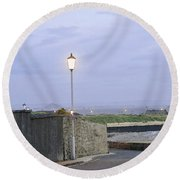 Lamppost. Night Is Coming. Round Beach Towel