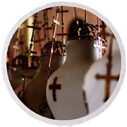 Lamps Inside The Church Of The Holy Sepulchre, Jerusalem Round Beach Towel