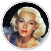 Lana Turner, Hollywood Legend Round Beach Towel