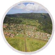Lanai City Aerial Round Beach Towel