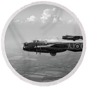 Lancasters Aj-g And Aj-n Carrying Upkeeps Black And White Versio Round Beach Towel