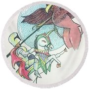Lancelot And Griffin  Round Beach Towel