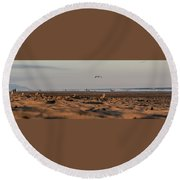 Land, Air, Sea Round Beach Towel