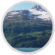 Land And Sea In Whittier Round Beach Towel