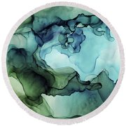 Land And Water Abstract Ink Painting Round Beach Towel