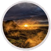 Land Of Fire And Ice Round Beach Towel