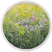 Land Of Flowers Round Beach Towel
