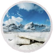 Land Of Ice And Snow Round Beach Towel