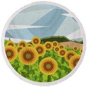 Land Of Sunflowers. Round Beach Towel