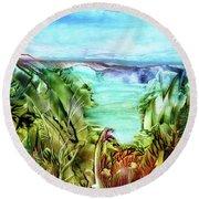 Land Sea And Sky Round Beach Towel
