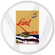Land With The Us Marines Round Beach Towel
