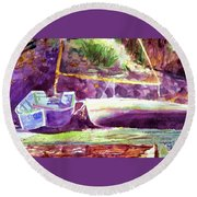 Landed Boats Round Beach Towel