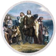 Landing Of Pilgrims, 1620 Round Beach Towel