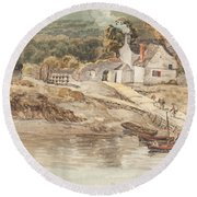 Landing Place Near Tintern Abbey Round Beach Towel
