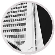Landmark Square Facade Round Beach Towel