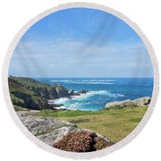 Land's End And Longships Lighthouse Cornwall Round Beach Towel by Terri Waters