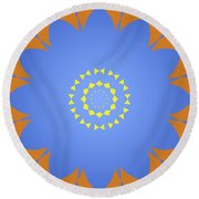 Landscape Abstract Blue, Orange And Yellow Star Round Beach Towel