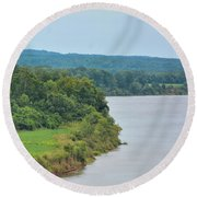 Landscape Along The Tennessee River At Shiloh National Military Park, Tennessee Round Beach Towel