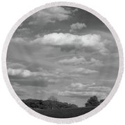 Landscape And Clouds Round Beach Towel