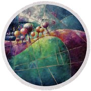 Landscape And Trees In Purple Round Beach Towel
