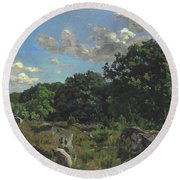 Landscape At Chailly Round Beach Towel
