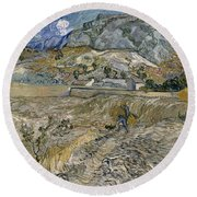 Landscape At Saint Remy Enclosed Field With Peasant Round Beach Towel