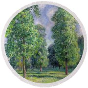 Landscape At Sevres Round Beach Towel by Alfred Sisley