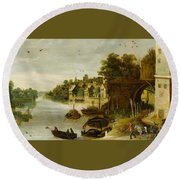 Landscape By A Riverside Town Round Beach Towel