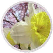 Landscape Daffodils Flowers Art Pink Tree Blossoms Spring Baslee Round Beach Towel