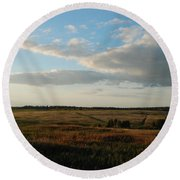 Landscape Far From The City Round Beach Towel