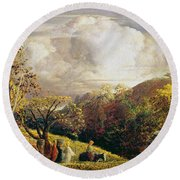Landscape Figures And Cattle Round Beach Towel