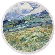 Landscape From Saint Remy At Wheat Fields  Van Gogh Series   By Vincent Van Gogh Round Beach Towel